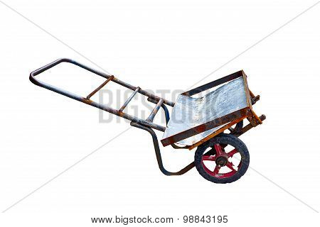 Modified Barrow Made From Old Steel Isolated On White Background