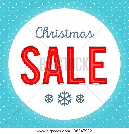 Vector illustration. Retro Christmas sale poster with a white ci