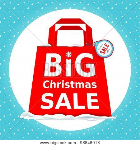 Vector. Great Christmas sale. Holiday Sale with big red shopping