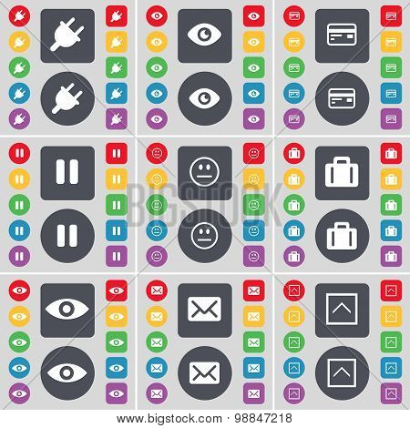 Socket, Vision, Credit Card, Pause, Smile, Suitcase, Intuition, Message Icon Symbol. A Large Set Of