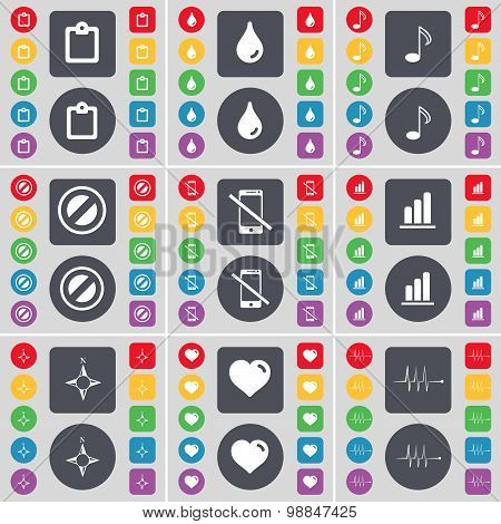 Survay, Drop, Note, Stop, Smartphone, Diagram, Compass, Heart, Pulse Icon Symbol. A Large Set Of Fla