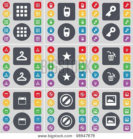 Apps, Mobile Phone, Key, Hanger, Star, Trash Can, Calendar, Stop, Picture Icon Symbol. A Large Set O