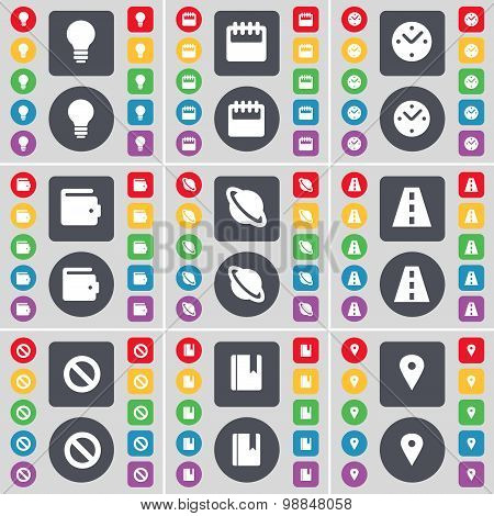 Light Bulb, Calendar, Clock, Wallet, Planet, Road, Stop, Dictionary, Checkpoint Icon Symbol. A Large