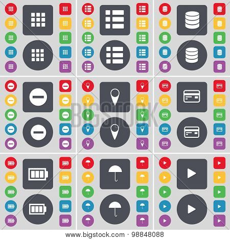 Apps, List, Database, Minus, Checkpoint, Credit Card, Battery, Umbrella, Media Play Icon Symbol. A L