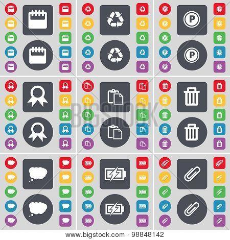 Calendar, Recycling, Parking, Medal, Survey, Trash Can, Chat Cloud, Charging, Clip Icon Symbol. A La