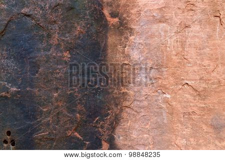 The Differences Of The Surface Of Sandstone With No Water Stains And Water Stains.