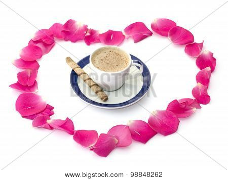 Cappuccino Mug In An Environment Of Petals Of Roses