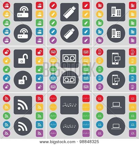 Router, Usb, Building, Lock, Cassette, Sms, Rss, Note, Laptop Icon Symbol. A Large Set Of Flat, Colo