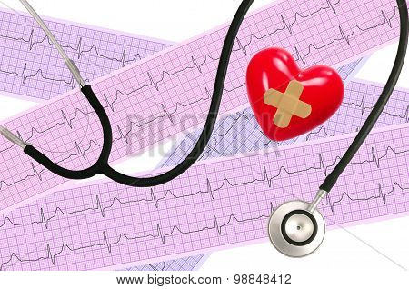Medical Stethoscope And Heart Analysis, Electrocardiogram Graph (ecg)