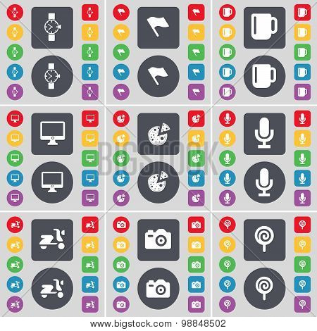 Wrist Watch, Flag, Cup, Monitor, Pizza, Microphone, Scooter, Camera, Lollipop Icon Symbol. A Large S