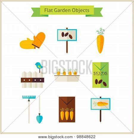 Flat Garden Objects Set