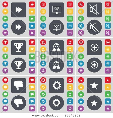 Rewind, Monitor, Mute, Cup, Avatar, Plus, Dislike, Gear, Star Icon Symbol. A Large Set Of Flat, Colo