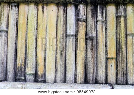 Dry Bamboo Fence Patterned Background With Vertical Bamboo Sticks