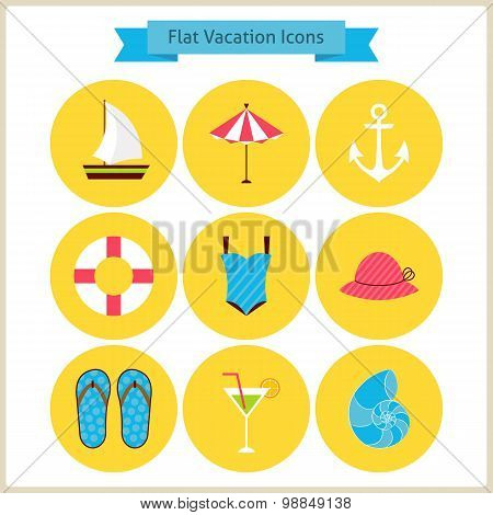 Flat Summer Holidays And Resort Icons Set