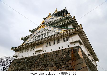Osaka Castle, Japan. Rainy Overcast Sky.