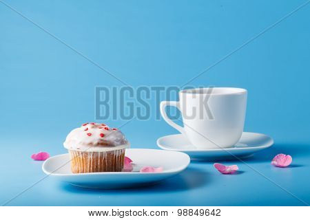 Colorful Muffin On Saucer