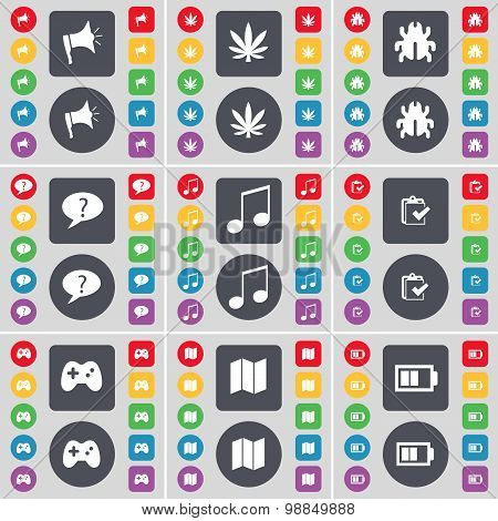 Megaphone, Marijuana, Bug, Chat Bubble, Note, Survey, Gamepad, Map, Battery Icon Symbol. A Large Set