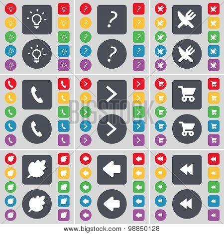 Light Bulb, Question Mark, Fork And Knife, Receiver, Arrow Right, Shopping Cart, Leaf, Arrow Left, R