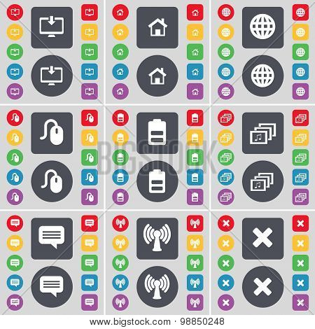 Monitor, House, Globe, Mouse, Battery, Gallery, Chat Bubble, Wi-fi, Stop Icon Symbol. A Large Set Of