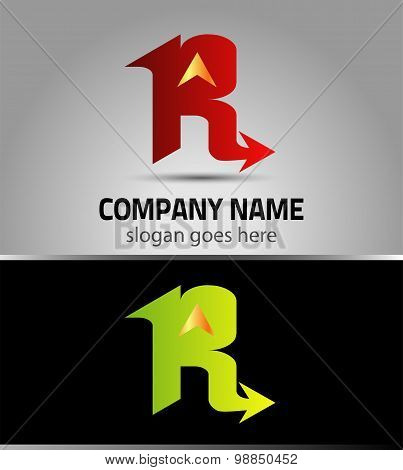 Letter R logo icon design symbol with arrow