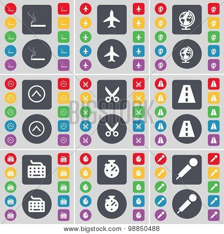 Cigarette, Airplane, Globe, Arrow Up, Scissors, Road, Keyboard, Stopwatch, Microphone Icon Symbol. A