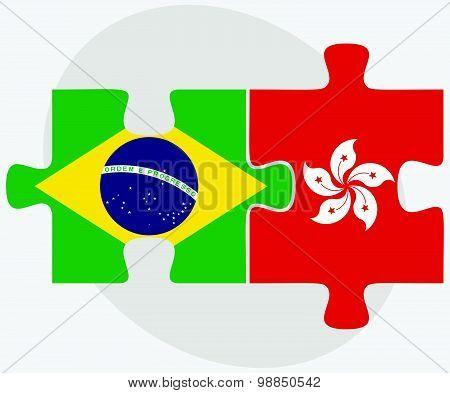 Brazil And Hong Kong Sar China Flags