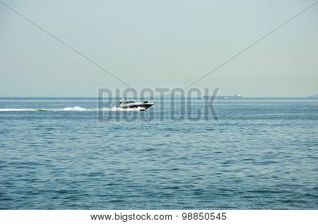 Boat On Blue Sea Water