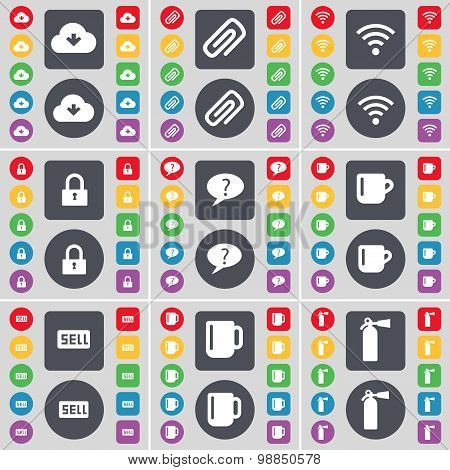 Cloud, Clip, Wi-fi, Lock, Chat Bubble, Cup, Sell, Cup, Fire Extinguisher Icon Symbol. A Large Set Of