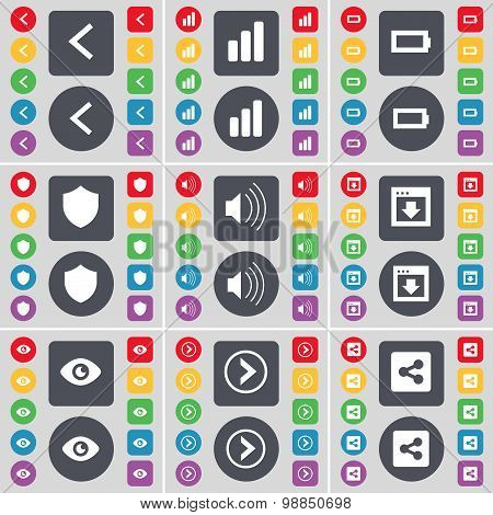 Arrow Left, Diagram, Battery, Badge, Sound, Window, Vision, Arrow Right, Share Icon Symbol. A Large