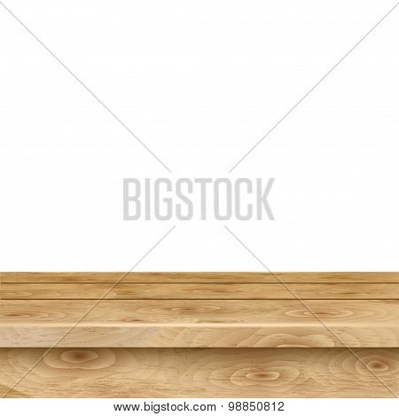 Empty Table Of Light Brown Wooden Planks