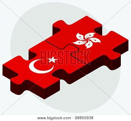 Turkey And Hong Kong Sar China Flags