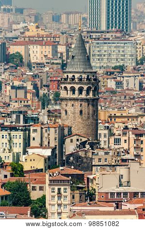 Galata Tower In Istanbul Turkey, Made By Genoese