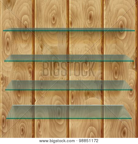 Glass Shelves On Wooden Planks