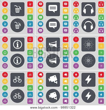 Trash Can, Chat Bubble, Headphones, Infomation, Megaphone, Star, Bicycle, Cctv, Flash Icon Symbol. A