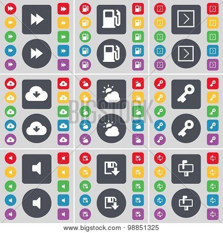 Rewind, Gas Station, Arrow Right, Cloud, Weather, Key, Sound, Floppy, Mailbox Icon Symbol. A Large S