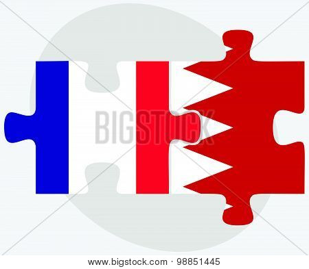 France And Bahrain Flags In Puzzle