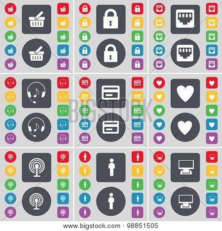 Basket, Lock, Lan Socket, Hadphones, Credit Card, Heart, Wi-fi, Silhouette, Monitor Icon Symbol. A L