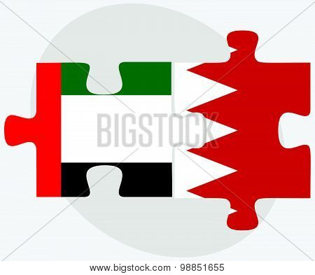 United Arab Emirates And Bahrain Flags