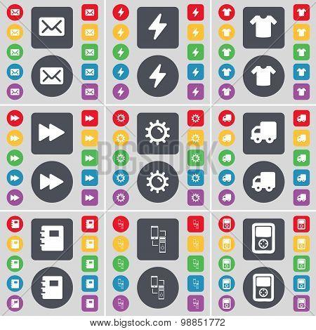 Message, Flash, T-shirt, Rewind, Gear, Truck, Notebook, Information Exchange, Player Icon Symbol. A