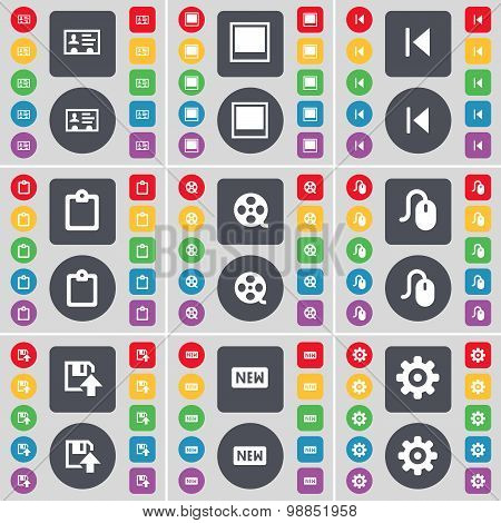 Contact, Window, Media Skip, Survey, Videotape, Mouse, Floppy, New, Gear Icon Symbol. A Large Set Of
