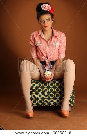 Pin Up Girl With CupCake