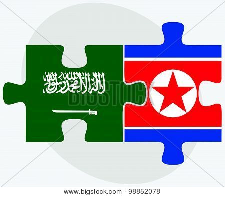 Saudi Arabia And Korea-north Flags