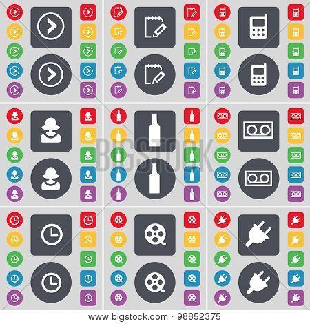 Arrow Right, Survey, Mobile Phone, Avatar, Bottle, Cassette, Clock, Videotape, Socket Icon Symbol. A