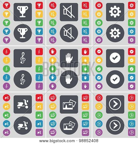 Cup, Mute, Gear, Clef, Hand, Tick, Scooter, Picture, Arrow Right Icon Symbol. A Large Set Of Flat, C