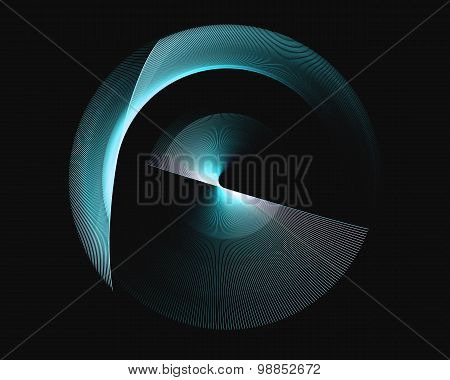 Abstract Fractal Design. Blue Rotational Rings On Black.