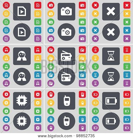 Media File, Camera, Stop, Avatar, Radio, Hourglass, Processor, Mobile Phone, Battery Icon Symbol. A