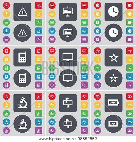 Warning, Graph, Clock, Mobile Phone, Monitor, Star, Microscope, Mailbox, Charging Icon Symbol. A Lar