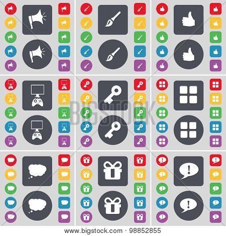 Megaphone, Brush, Like, Game Console, Key, Apps, Chat Cloud, Gift, Chat Bubble Icon Symbol. A Large