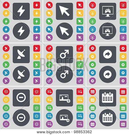 Flash, Cursor, Game Console, Satellite Dish, Mars Symbol, Back, Minus, Picture, Calendar Icon Symbol