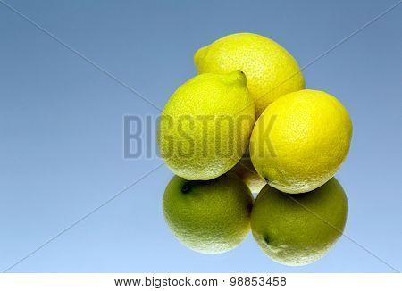 Lemon On A Blue Background, Mirror